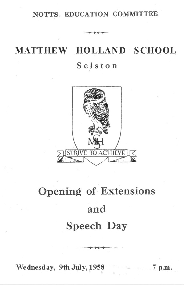 1958 Opening new extension