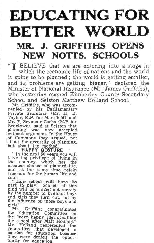 1946 News article School opening