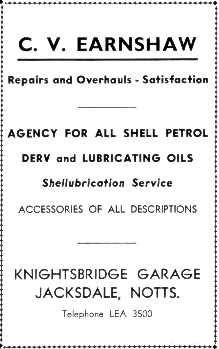 Claude Earnshaw\'s advert for Knightsbridge Garage, Pye Hill Road, Jacksdale. Still trading today under new ownership