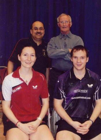 Members of Jacksdale Table Tennis Club photographed with No 1 England players Paul Drinkall & Joanna Parker